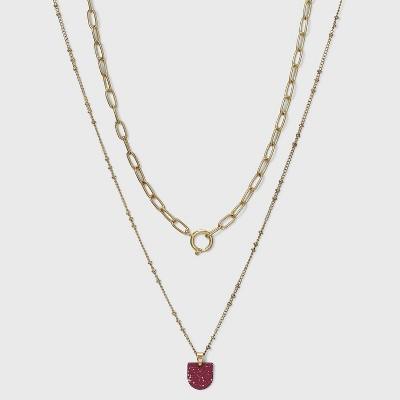 Speckled Half Moon Charm Double Layer Necklace - Universal Thread™