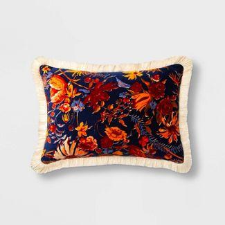 Oblong Prairie Floral Printed Velvet Throw Pillow Blue - Threshold™