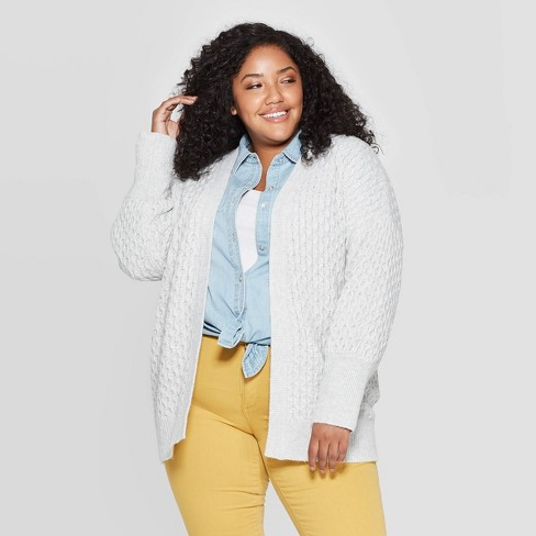 hot-selling clearance search for latest utterly stylish Women's Plus Size Long Sleeve Honeycomb Open Layering Cardigan - Universal  Thread™ Gray 2X
