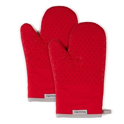 "KitchenAid 2pk 7""X12.5"" Asteroid Oven Mitts Red"