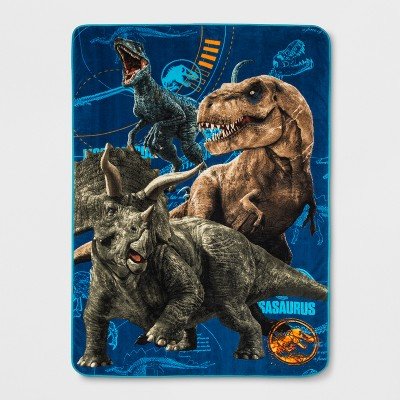 Jurassic World Twin Dinosaur Bed Blanket Blue