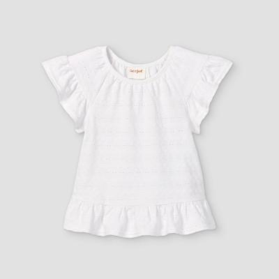 Toddler Girls' Eyelet Short Sleeve Blouse - Cat & Jack™ White