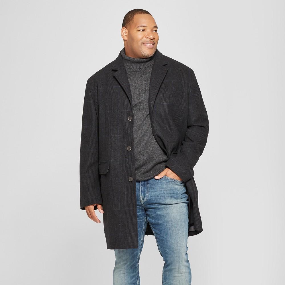 Men's Big & Tall Plaid Overcoat - Goodfellow & Co 3XB, Black