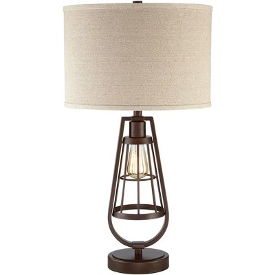 Franklin Iron Works Rustic Industrial Table Lamp with Nightlight LED Edison Brown Burlap Drum Shade Living Room Bedroom Bedside