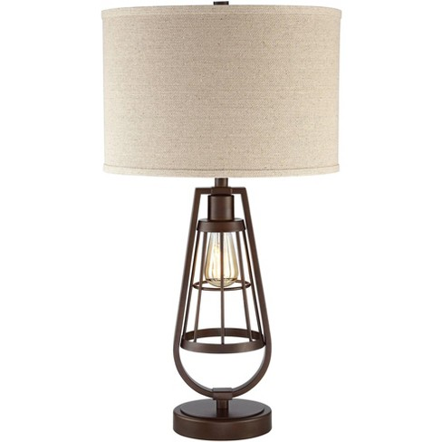 Franklin Iron Works Rustic Industrial Table Lamp with Nightlight LED Edison Brown Burlap Drum Shade Living Room Bedroom Bedside - image 1 of 4