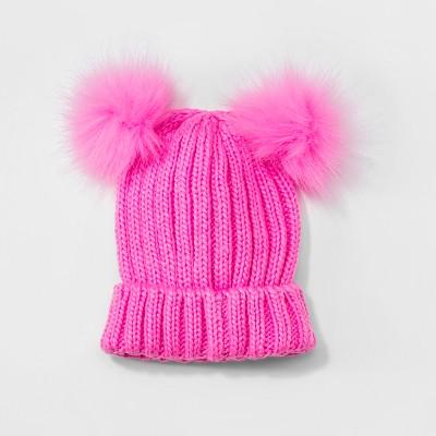 Girls  Faux Fur Pom Beanie - Cat   Jack™ Pink One Size   Target 2c93c4f96f8