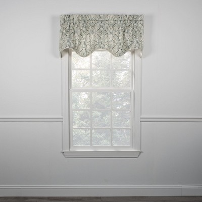 Ellis Curtain Blissfullness High Quality Room Darkening Solid Lined Scallop Window Valance - 50 x 15, Blue