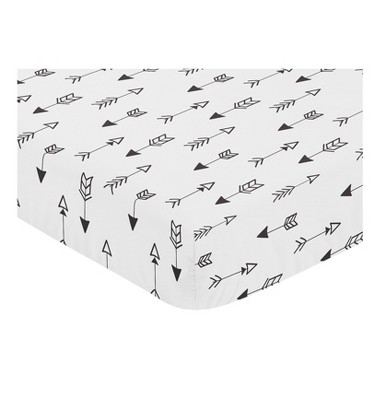 Sweet Jojo Designs Black and White Fox Fitted Crib Sheet - Arrow Print
