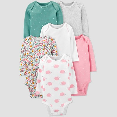 Baby Girls' 6pk Polka Dot and Floral Print Bodysuit - Just One You® made by carter's Green/Pink/Gray Newborn