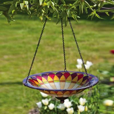 Tiffany Inspired Hanging Petal Glass Birdbath