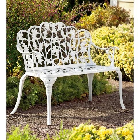 Aluminum Vintage Style Outdoor Garden Bench With Grape Vine Design Plow Hearth
