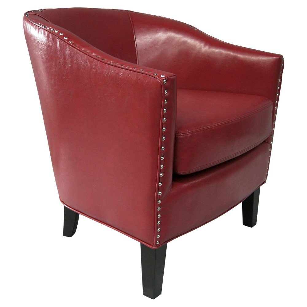 Fremont Shaped Barrel Armchair - Chili Red, Chill Red