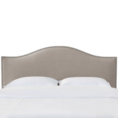 Queen Athena Nail Button Headboard Linen Putty - Skyline Furniture