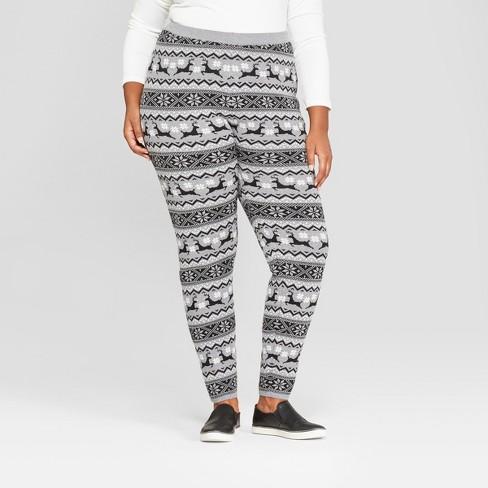 Plus Size Christmas Leggings.Women S Plus Size Christmas Reindeer Sweater Leggings 33 Degrees Juniors Gray 3x