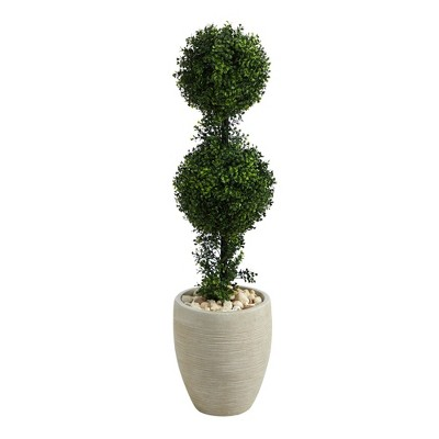 3.5' Indoor/Outdoor Boxwood Double Ball Topiary Artificial Tree in Planter Sand/Green - Nearly Natural
