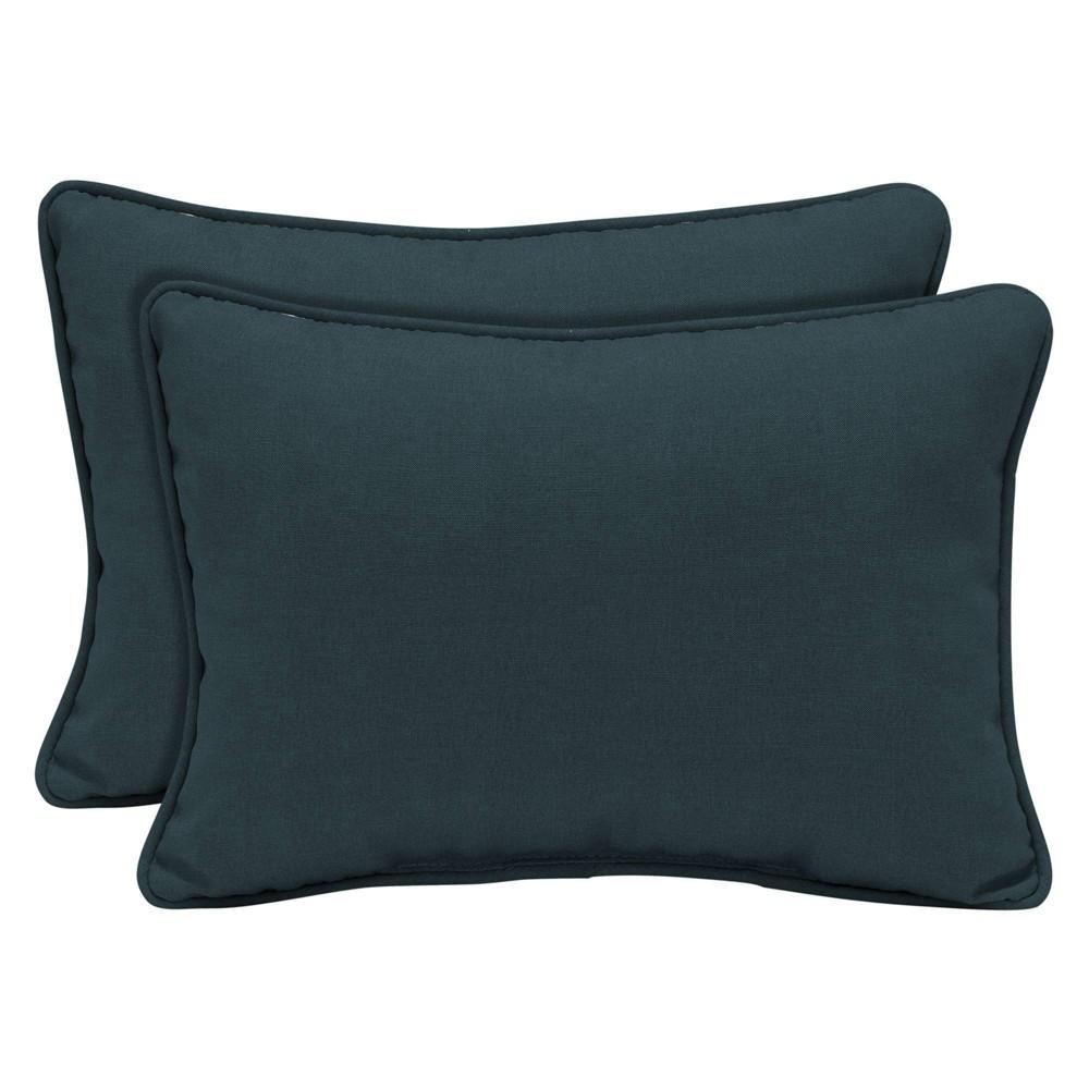 Image of 2pk Atlantis Woven Outdoor Lumbar Throw Pillows Blue - Arden Selections