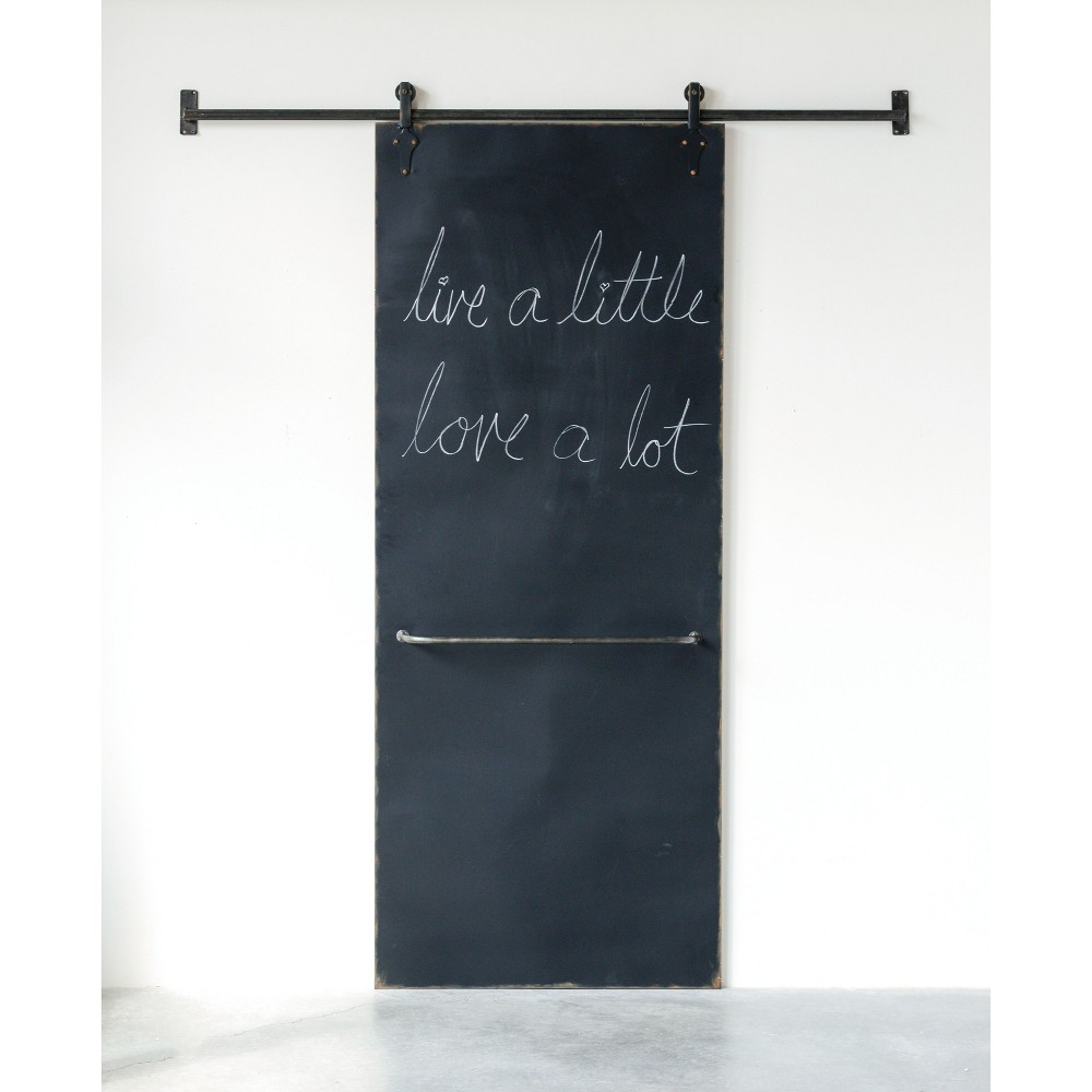 82.5 x 5.5 Metal Chalkboard On Sliding Bar Black - 3R Studios