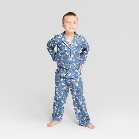 ad36211e1b25 Nite Nite Munki Munki Kids  Holiday Moose Notch Collar Pajama Set ...