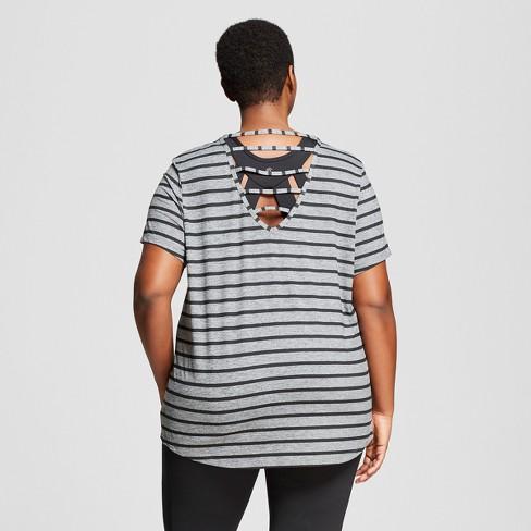 841f67ebc8a3 Women s Plus-Size Strappy Back T-Shirt - C9 Champion® Dark Heather Gray  Black Stripe