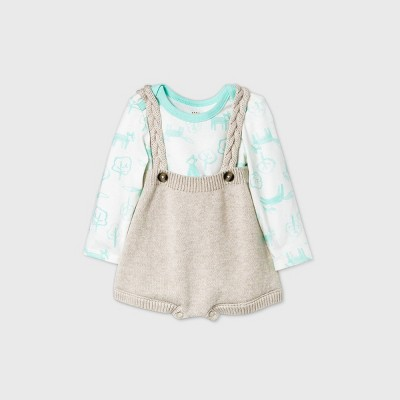 Baby Cable Strap Sweater Romper Set - Cat & Jack™ Cream 3-6M