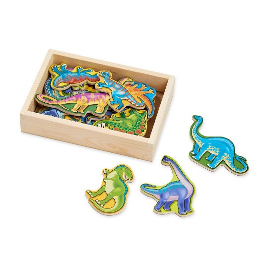 Melissa & Doug Wooden Magnets Set - Animals and Dinosaurs With 40 Wooden Magnets image number null