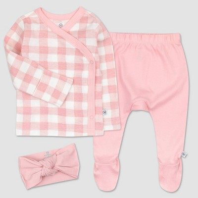 Honest Baby Girls' 3pc Organic Cotton Painted Buffalo Kimono Top and Footed Pants with Headband - Pink/White 0-3M