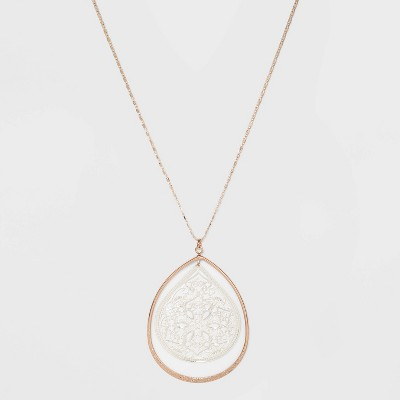 Filigree and Textured Drop Pendant Necklace - A New Day™ Silver/Gold