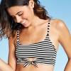 Women's Texture Front Tie Bralette Bikini Top - Xhilaration™ Black/White Stripe - image 3 of 4