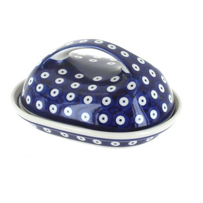 Blue Rose Polish Pottery Dots Butter Dish