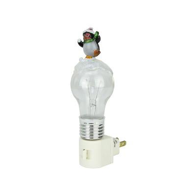 """Ganz 6.25"""" White Pre-Lit LED Frosted Wobbling Penguin Christmas Night Light"""