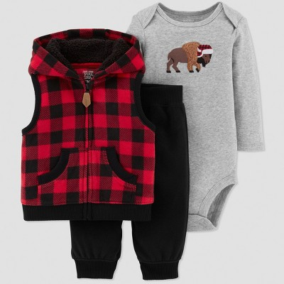 Baby Boys' 3pc Buffalo Plaid Set - Just One You® made by carter's Red Newborn