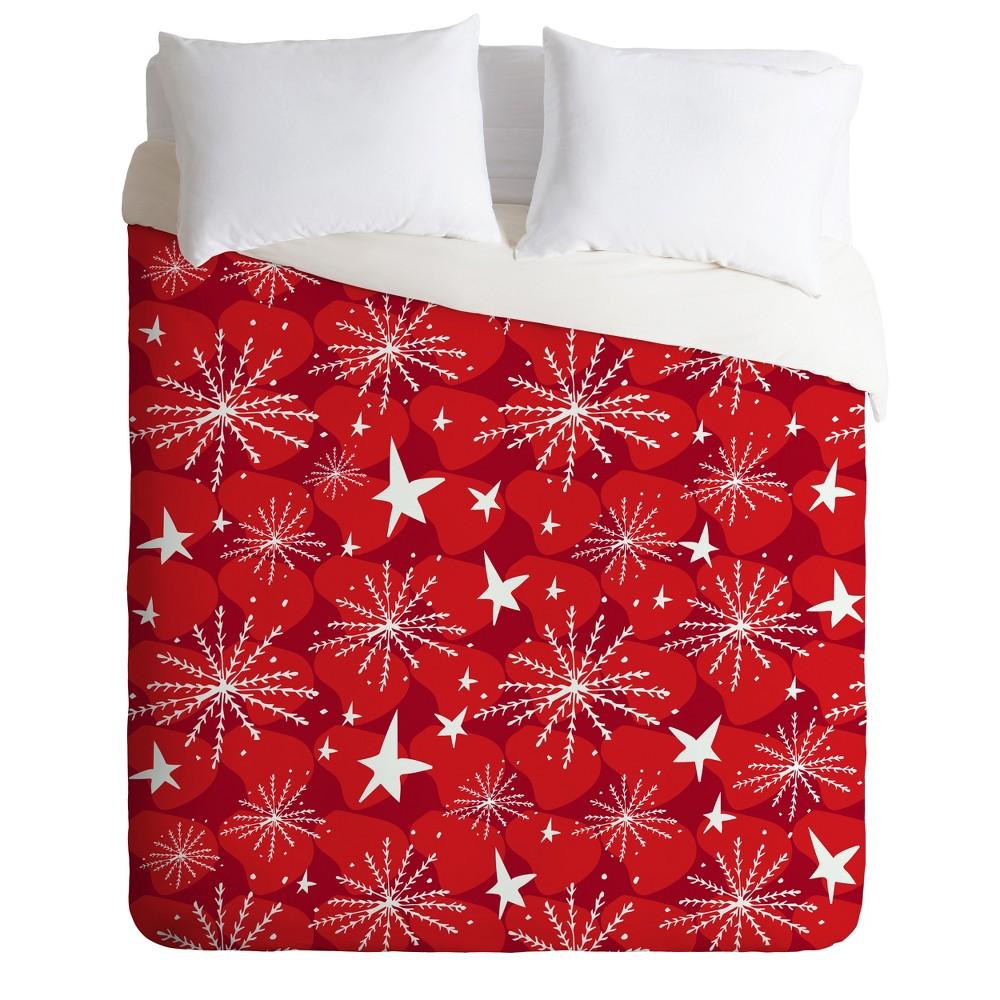 Full/Queen Julia Da Rocha Snow And Stars Duvet Cover Set Red - Deny Designs