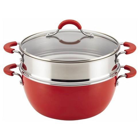 Circulon Innovatum 5.5qt Aluminum Nonstick Stock Pot with Steamer Red - image 1 of 3