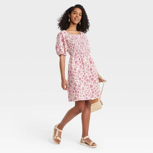 Women's Floral Print Puff Elbow Sleeve Smocked Dress - Universal Thread™ Cream - image 1 of 3