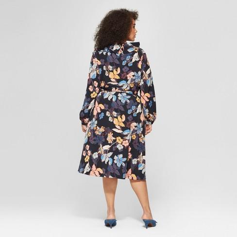 53f7fa76295 Women s Plus Size Floral Print Long Sleeve Ruffle Wrap Midi Dress - Who  What Wear™ Black Pink 4X   Target