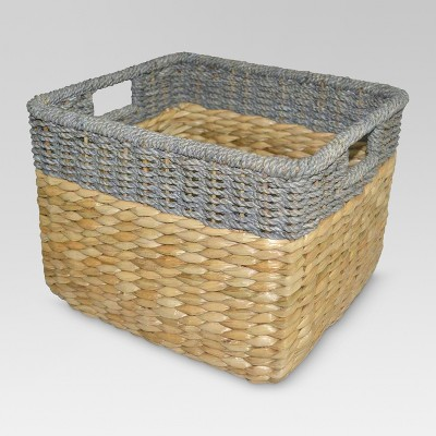 "11""x14.5"" Seagrass Rectangular Wicker Storage Basket with Gray Trim - Threshold™"