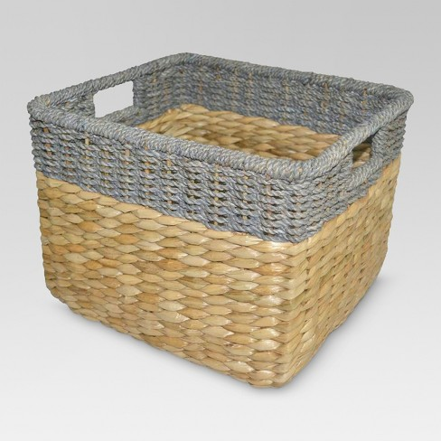 Seagrass Rectangular Wicker Storage Basket With Gray Trim