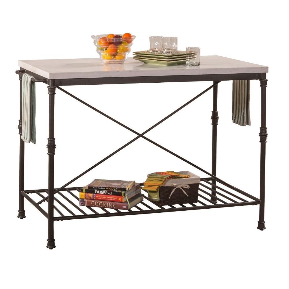Castille Metal Kitchen Island - Textured Black/White Marble - Hillsdale Furniture, White/Black