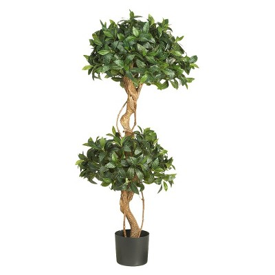 Nearly Natural 4' Sweet Bay Double Ball Topiary Silk Tree