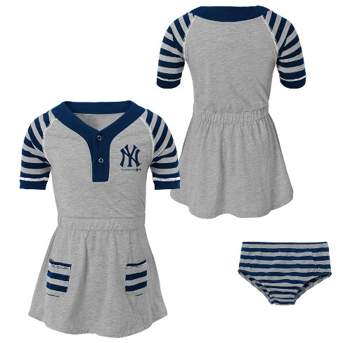 New York Yankees Girls  Striped Gray Infant Toddler Dress - 2T   Target 1d26d7ca4f9