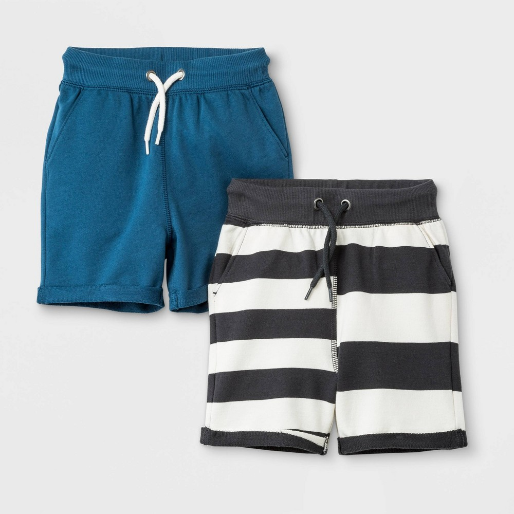 Toddler Boys' French Terry 2pk Roll-Cuff Pull-On Shorts - Cat & Jack Charcoal/Blue 12M, Gray