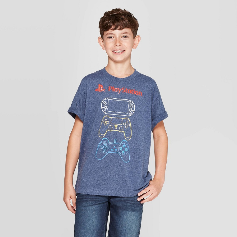 Image of petiteBoys' PlayStation Controllers Short Sleeve T-Shirt - Navy L, Boy's, Size: Large, Blue