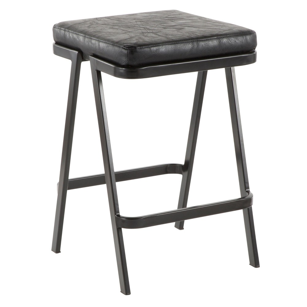 Seven Industrial Counter Stool Black - LumiSource