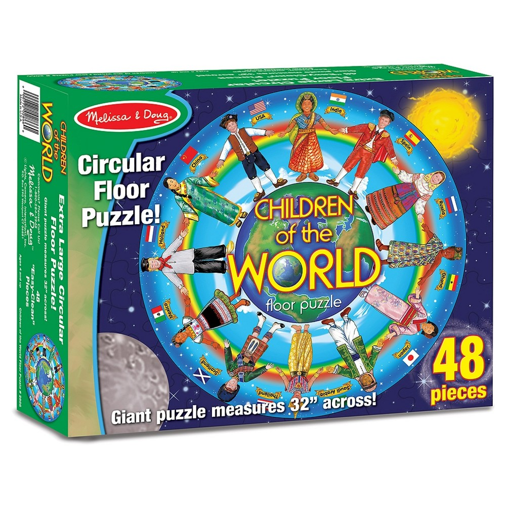 """Melissa And Doug Children Of The World Jumbo Floor Puzzle 48pc This wonderfully illustrated 48-piece circular cardboard floor puzzle features twelve children from around the world dressed in traditional ethnic clothing. It introduces children to various cultures, and helps them notice differences and similarities. Unique multicultural puzzle measures 32"""" across. The extra-thick pieces feature an easy-clean surface to keep them looking like new. Gender: Unisex."""