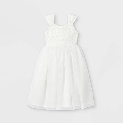Mia & Mimi Girls' Lace Tulle Dress - White