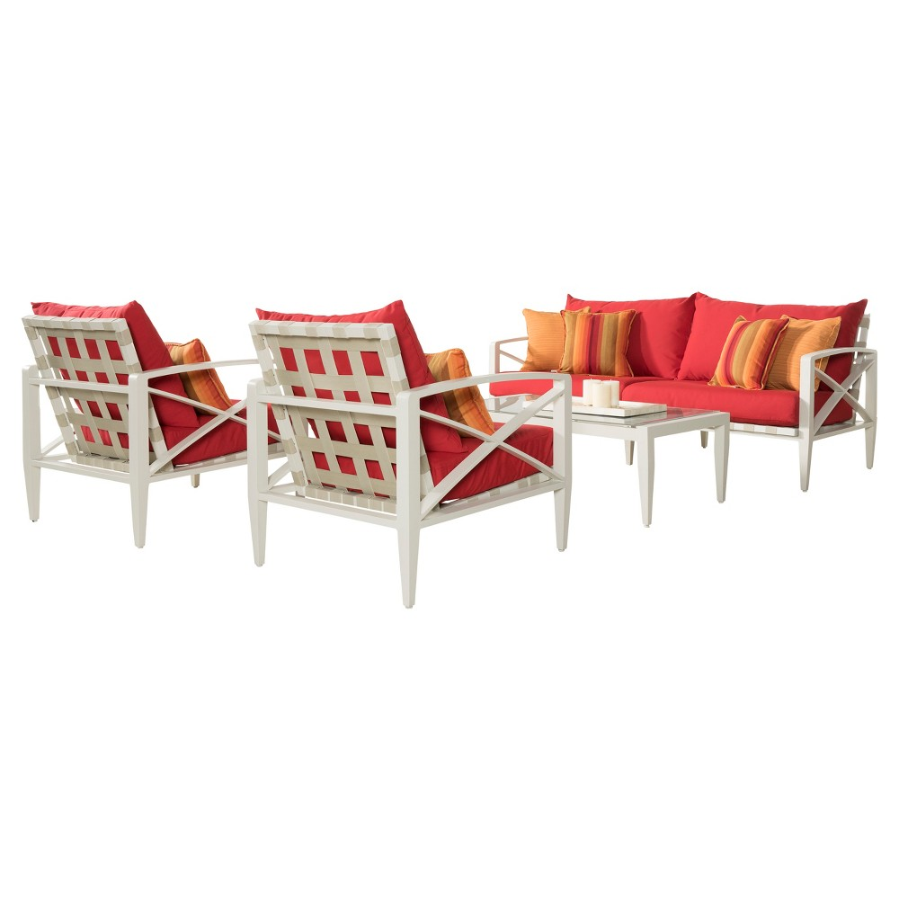 Knoxville 4pc Metal Patio Conversation Set - Cream/Sunset Red - Rst Brands