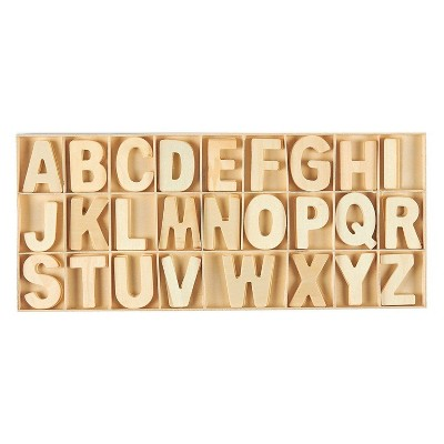 Juvale 104-Piece Wooden Alphabet Letters, Wood Craft Letter Blocks with Storage Tray Set for Kids, Toddlers Learning Toys, Home Decor, 2 inches