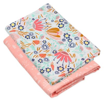 Honest Baby Organic Cotton Swaddle Blanket - Flower Power 2pk