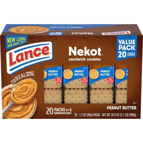 Lance Nekot Real Peanut Butter Cookie Sandwiches - 35oz - 20ct - image 1 of 4