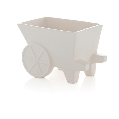 Small Kasbah Wheelcart Planter  - White - Shiraleah